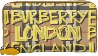 Burberry Vintage Graffiti Zip Around Wallet