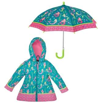 Stephen Joseph Mermaid Raincoat & Umbrella Set