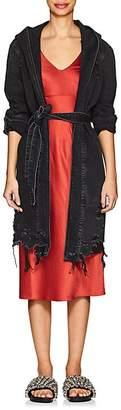 Alexander Wang Denim x Women's Distressed Denim Hooded Wrap Jacket