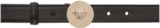 Versace Black Round Medusa Belt $240 thestylecure.com