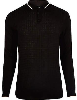 River Island Black slim fit grid textured polo shirt