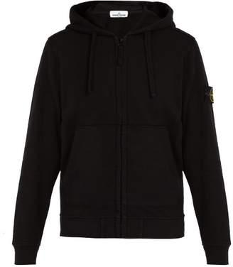 Stone Island Zip Through Cotton Hooded Sweatshirt - Mens - Black