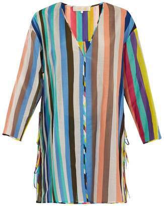 Diane von Furstenberg V Neck Striped Cotton Blend Dress - Womens - Blue Multi