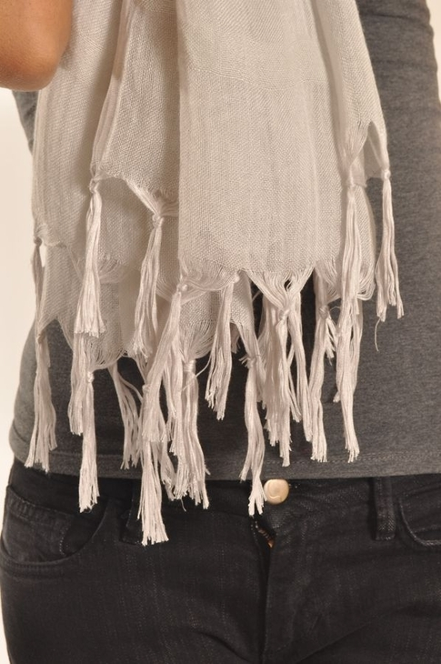 LoveQuotes Scarves Love Quotes Linen Knotted Fringe Scarf in Peace