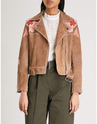Claudie Pierlot Floral-embroidered suede jacket