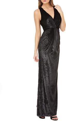 JS Collections Sleeveless V-Neck Shiny Velvet Column Gown w\/ Twist Detail