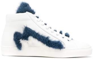 Mr & Mrs Italy furry hi-top sneakers
