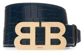 Bally Mirror B Embossed Leather Belt