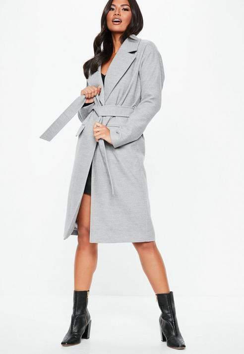 Grey Longline Belted Coat, Grey