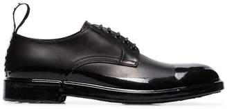 Dolce & Gabbana black logo tab leather derby shoes