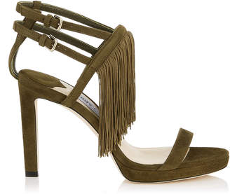 Jimmy Choo FARRAH 100 Black Suede Sandals with Fringe