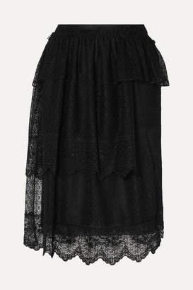 Simone Rocha Tiered Ruffled Corded Lace Midi Skirt - Black