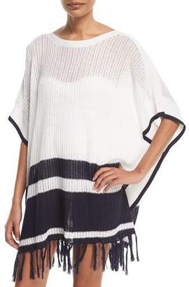 Tommy Bahama Linen-Cotton Striped Poncho Coverup, One Size