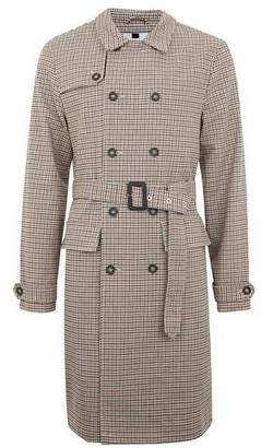Topman Mens Brown Houndstooth Check Trench Coat