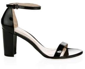 Stuart Weitzman Nearlynude Patent Leather Block Heel Sandals