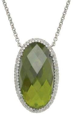 Lord & Taylor Sterling Silver Vesuvianite and Diamond Necklace