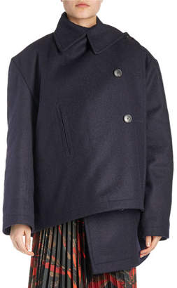 Balenciaga Pulled Asymmetric Wool Coat
