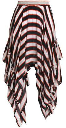 Preen Line Rachel Asymmetric Striped Crepe De Chine Skirt