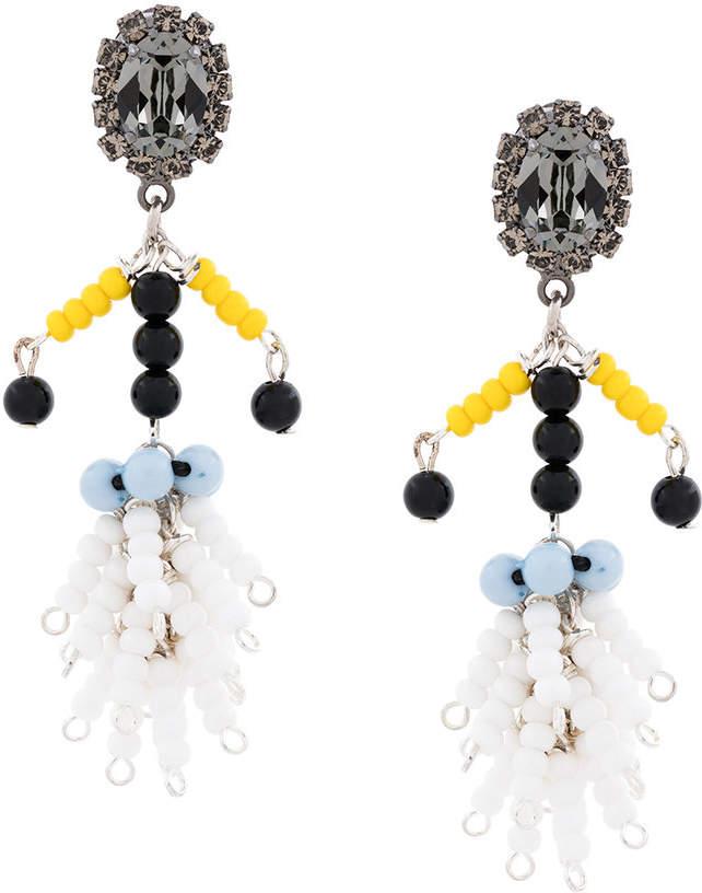 beaded jewelled clip-on earrings