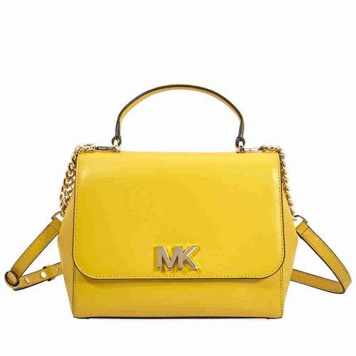 Michael Kors Mott Medium Leather Satchel- Sunflower - SUNFLOWER - STYLE