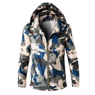 Limsea Men Blouses Men's Blouse, Limsea Long Sleeve Hooded Sweatshirt Camouflage Printed Outwear