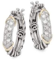 Effy 14K Gold & Sterling Silver Diamond Hoop Earrings