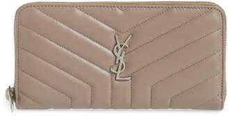 Saint Laurent Loulou Matelasse Leather Zip-Around Wallet