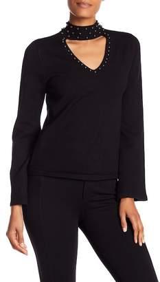 Parker Jana Faux Pearl Mock Choker Sweater