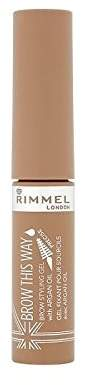 Rimmel Brow This Way Gel with Argan Oil Blonde 1 (Pack of 4)
