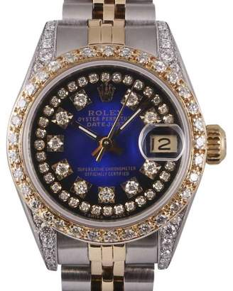 Rolex Datejust 18K Yellow Gold & Stainless Steel Blue Diamond Dial 26mm Womens Watch