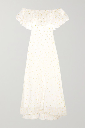 Temperley London Off-the-shoulder Metallic Fil Coupé Organza Gown - White
