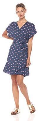 Paris Sunday Women's Printed Ruffle Hem Wrap Dress