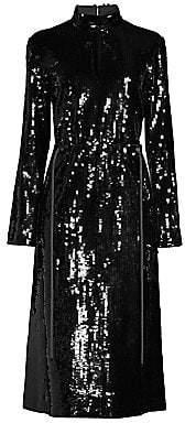 Tibi Women's Avril Sequins Split Neck Dress