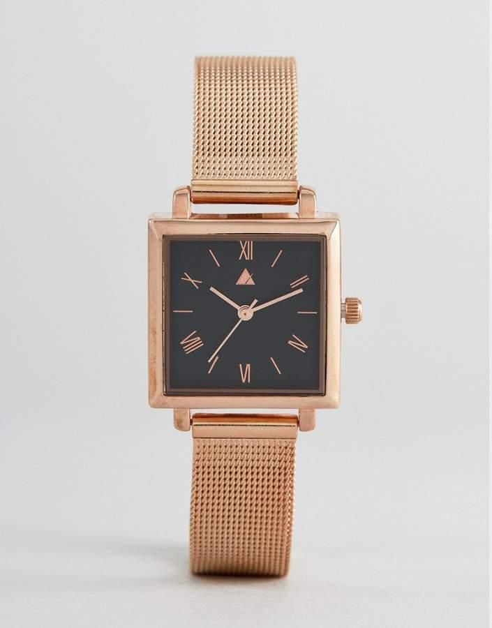 – Uhr mit quadratischem Zifferblatt und Mesh-Armband in Rosgold