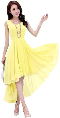 Dasior Women's A-Line Asymmetric High Low Summer Beach Holiday Party Dress S Auqa