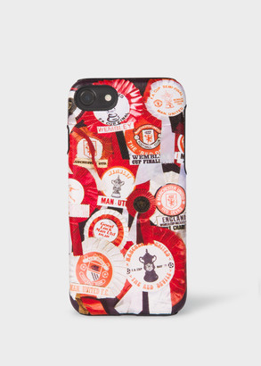 Paul Smith & Manchester United - 'Vintage Rosette' Print Leather iPhone 6/6S/7/8 Case