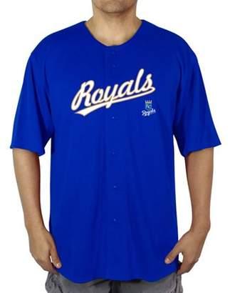 K&C MLB KC Royals Big Men's Poly Button Down Jersey