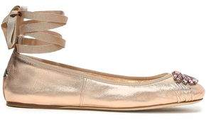 Jimmy Choo Grace Crystal-embellished Metallic Leather Ballet Flats