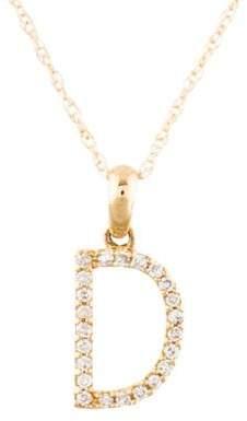 14K Diamond Initial D Pendant Necklace