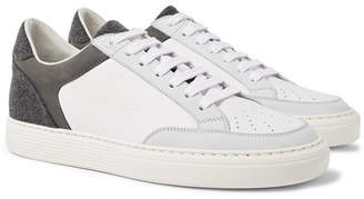 Brunello Cucinelli Nubuck, Felt and Full-Grain Leather Sneakers - Men - White