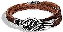 John Hardy Men's Legends Eagle Silver Double Wrap Braided Leather Cord Bracelet