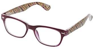Peepers Women's Good Times - Berry/Herringbone 2496150 Wayfarer Reading Glasses