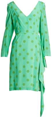 Natasha Zinko V-neck polka-dot silk-crepe dress