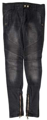 Balmain Low-Rise Moto Jeans