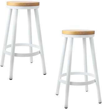 Resort Living Stacking Chairs Launo Bar Stool, White (Set of 2)