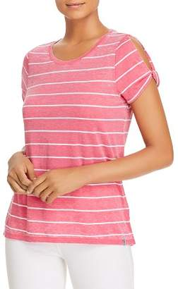 Andrew Marc Striped Cold-Shoulder Twist Tee