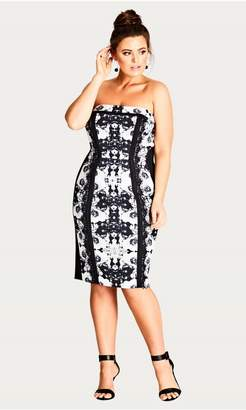 City Chic Citychic Midnite Mirror Printed Sheath Dress