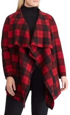 Lauren Ralph Lauren Plus Chequered Merino Wool Shawl Sweater