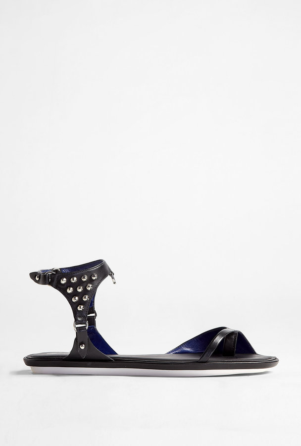 McQ Alexander McQueen Black Studded Flat Sandal