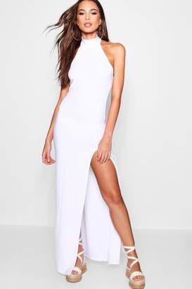boohoo High Neck Thigh Split Maxi Dress